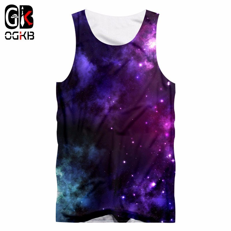 OGKB Gyms   Tanks   Summer Harajuku Men/Women's 3d Print Purple Galaxy Space   Tank     Top   Unisex Workout Fitness Sleeveless Shirts 5XL