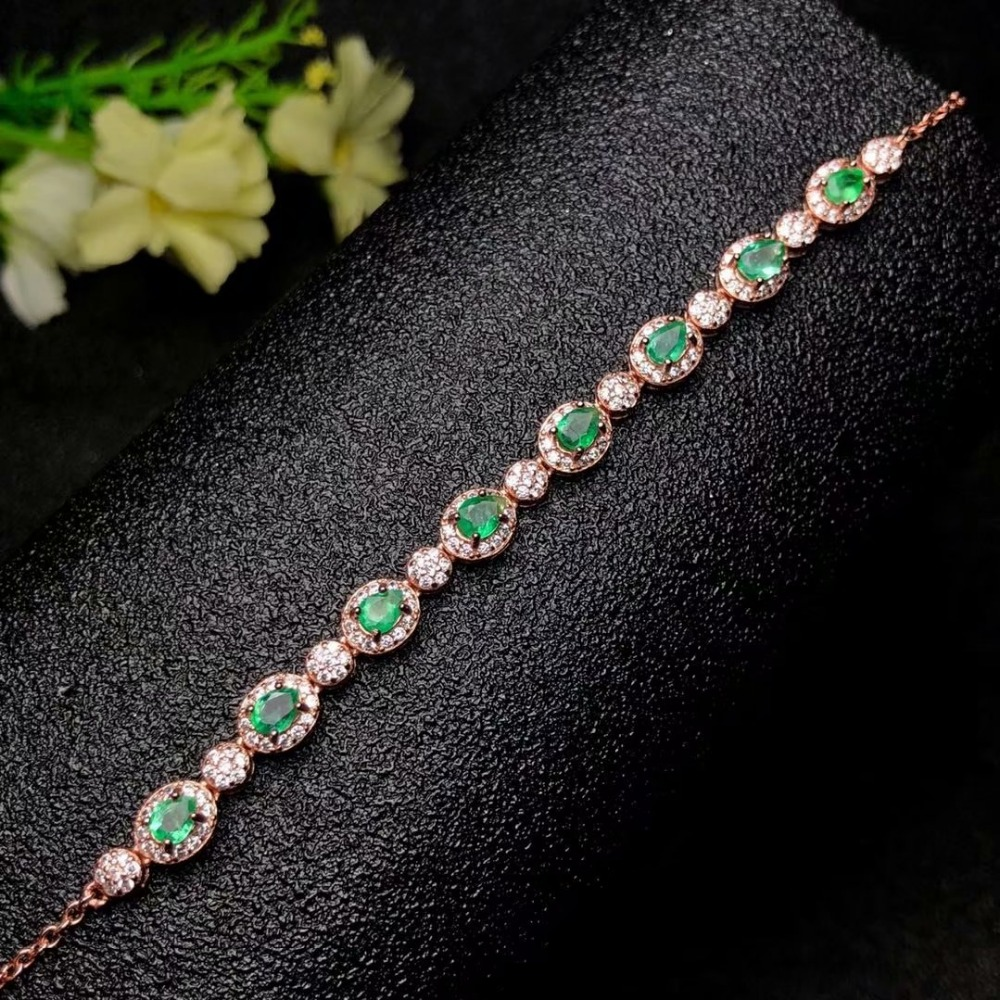 SHILOVEM 925 sterling silver Natural Emerald bracelets classic fine Jewelry women weddin ...