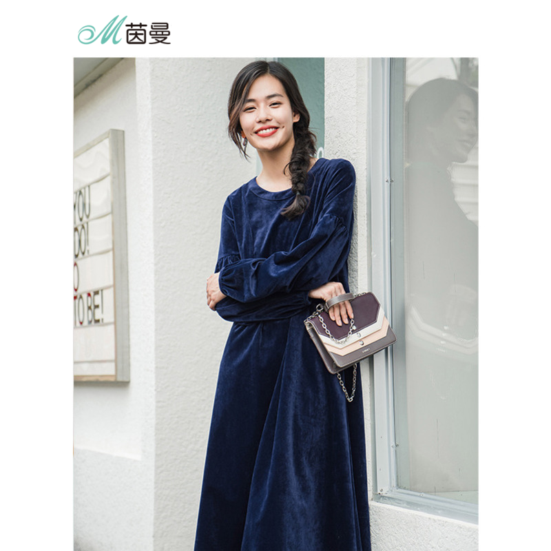 INMAN 2019 Spring Autumn Season Retro Style Loose Long Sleeve Women Dress