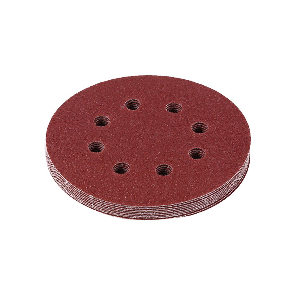 10pcs Per Bag 125mm Buffing Discs Red Sanding Discs 8 Hole Grit Sand Papers Sheet Sandpaper 8 Hole Sander Polishing Pad (80#)