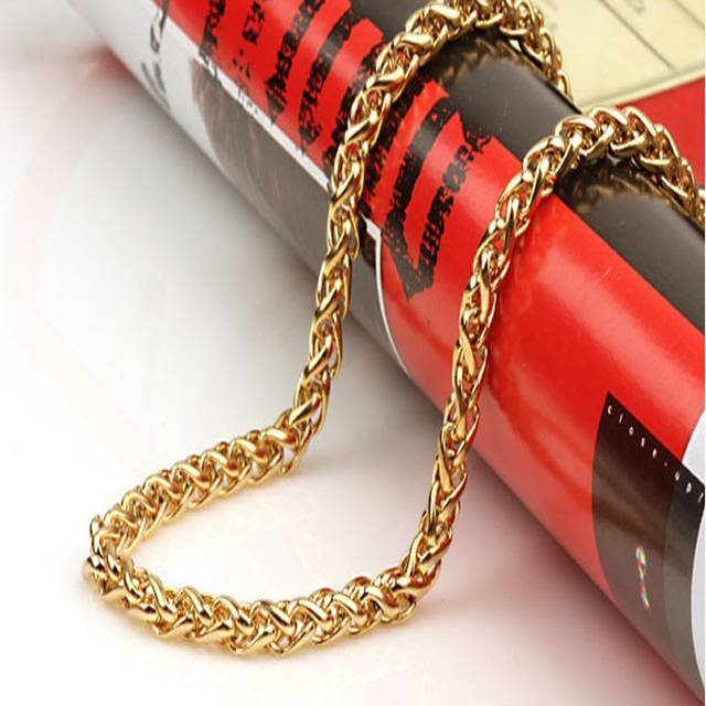Men's trendy gold plated Snake chains necklace stainless steel chain for men fashion Jewelry Wholesale