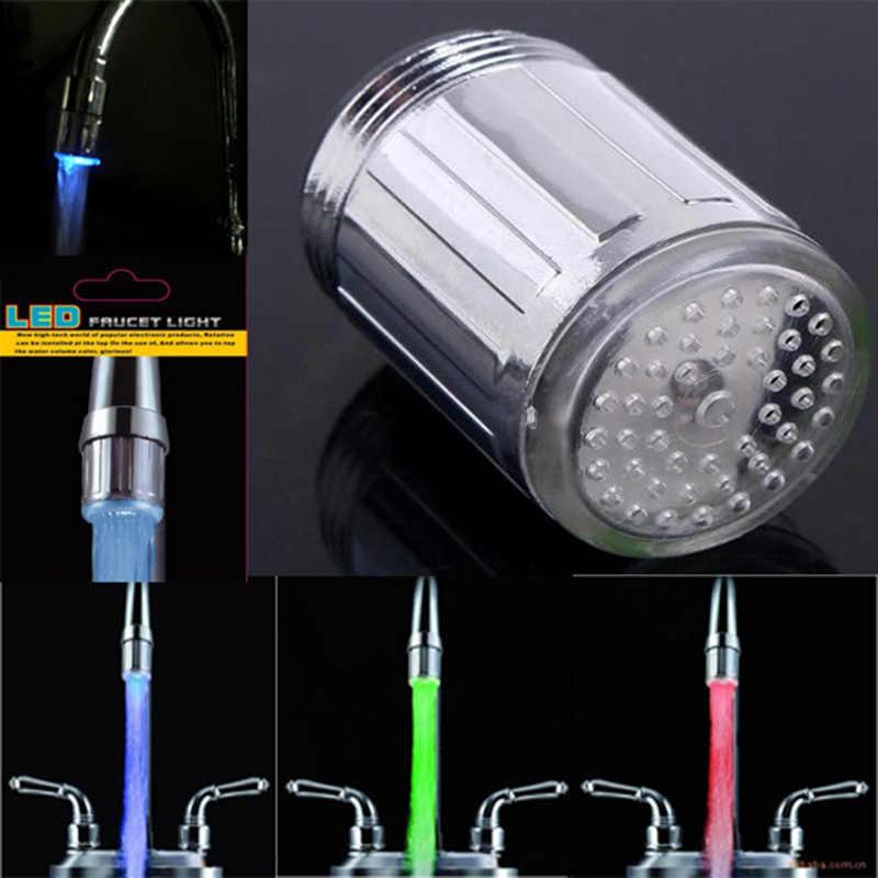 Dapur LED Keran Air Keran Suhu Aksesori Kran Kepala Sensor Lampiran Pada Crane RGB Glow Kamar Mandi Dropshipping