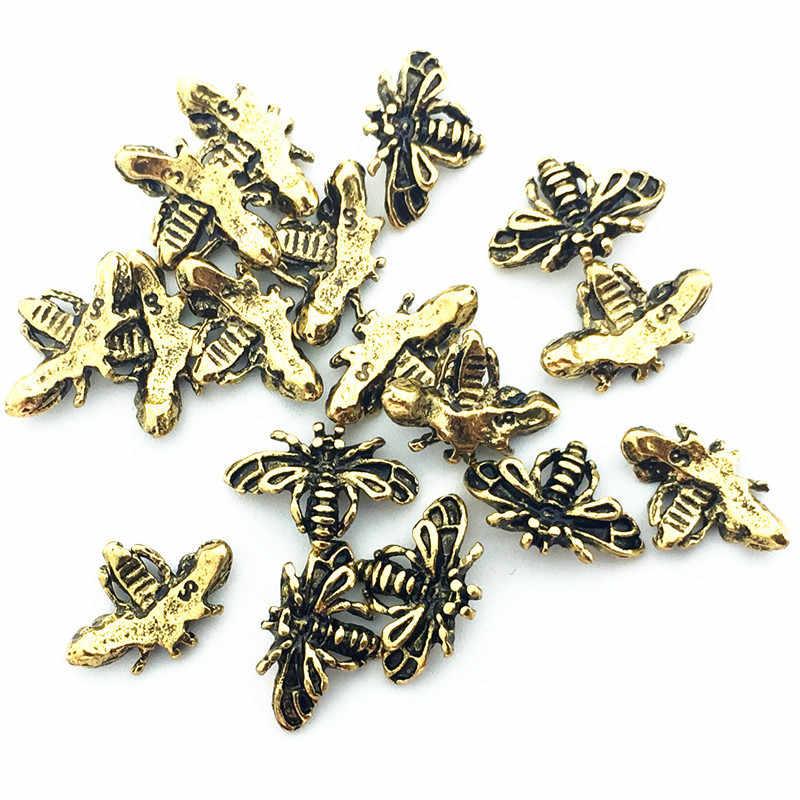 10 ピース日本韓国新スタイル 3D ネイルアート装飾合金かわいい蜂レトロ金属ネイルアクセサリー Diy ツールマニキュア