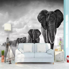 Retro black and white atmosphere simple walking elephant professional production wallpaper mural custom poster photo wall