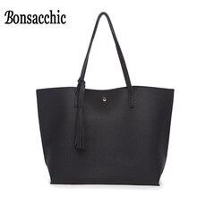 Bonsacchic Women Handbags 2017 Luxury Designer Women Bag Large Soft Leather Top Handle Bags Ladies Handbag Tassel Shoulder Bag