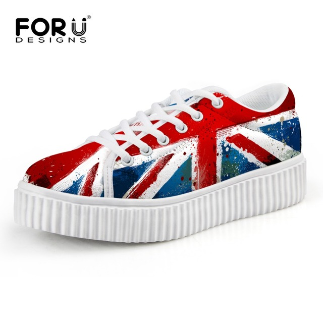 FORUDESIGNS Autumn Winter Women Shoes Printed UK USA Flag Creepers British Style Young Ladies Walking Shoes Classic Flat Creeper