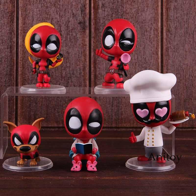 Cosbaby Brinquedos Quentes Figura de Ação Chef Lounging Senhora Deadpool Dogpool Kidpool Headpool Bobble Cabeça Decoração Do Carro Bonecas Modelo de Brinquedo