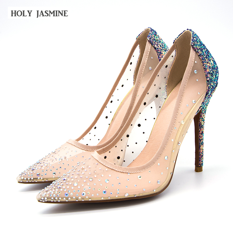 2018 Summer New Cinderella pointed high heels Women Pumps Leather Rhinestones Wedding Shoes Woman Pointed Toe High Heels Ladies