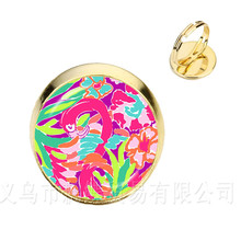 b0b83a52e Lili Pulitzer Pattern Rings Harajuku Cute Cartoon Glass Cabochon Jewelry  Fashion Adjustable Ring Best Gifts For Women