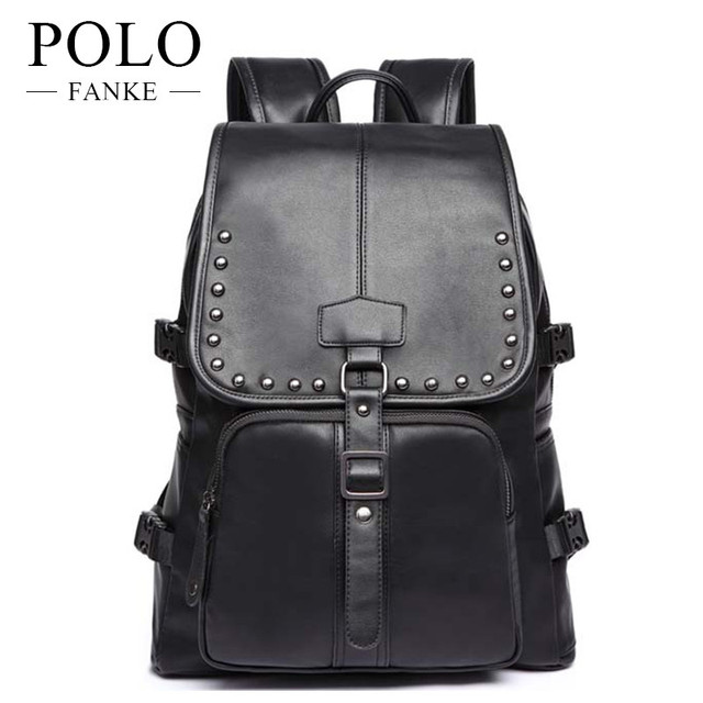 1b842cdea9e7 FANKE POLO Men Backpack Leather Korean Fashion Laptop Bag Pack Business  Male Tote Travel Backpack School Bag Teen Boy FB1007-N