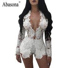 Abasona лучшее качество Цветочная вышивка Элегантный комбинезон комплект из двух предметов Длинные рукава v-образным вырезом Sexy кружева Комбинезоны Короткие Комбинезоны женские