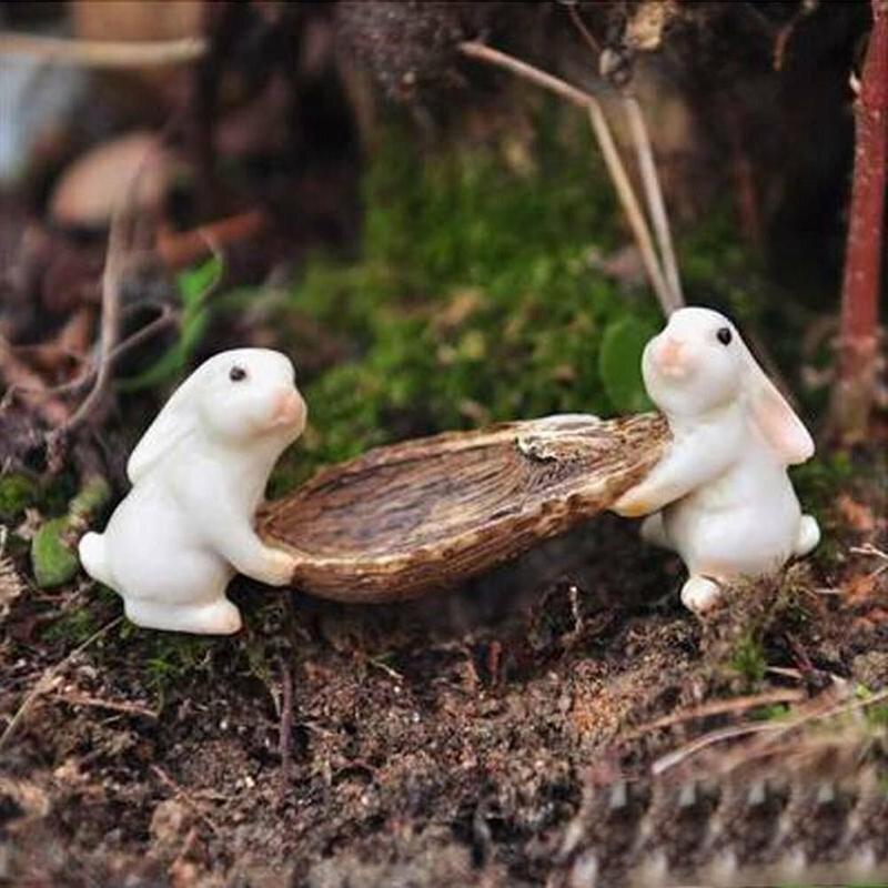 1pcs Cute Rabbits Animal Miniature Fairy Garden Moss Micro Landscape Ornament Decor