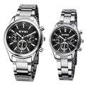 Eyki famosa marca relógios relógio de forma das mulheres de aço inoxidável completa três olhos dos homens quartzo analógico-homens relógio montre homme relógio