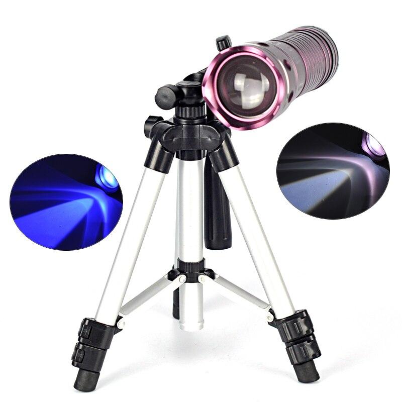 ФОТО 2000 Lm XML T6 5 Mode Blue / White LED Flashlight Torch Flash Light lanterna tatica lanterna recarregavel +Battery, Bracket