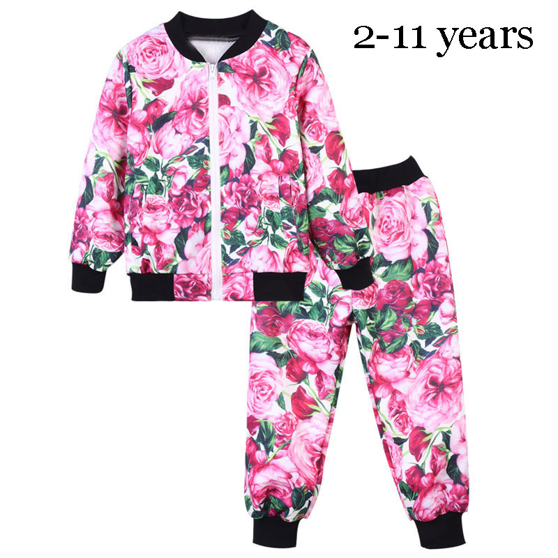 Children Boys Girls Kids Clothing Sets 2018 New Spring Flower Floral Baseball Coat+Pants Tracksuit Suit Set For Girls Boys 47 children clothing sets boys girls