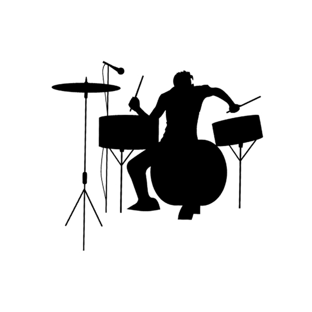Drums drummer silhouette rock band music vinyl graphic car truck suv window bumper decor decal sticker