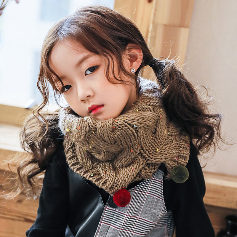 6 Colors Hot Sale Baby Scarf Winter Scarf Wool Cloak Collar Button Shawl Children Handmade Knitted Wool Neck Scarves