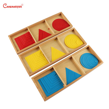Geometry Box High Quality Wooden Montessori Materials Math Toy Children Wooden Colorful Wood Games Learning Toy Baby