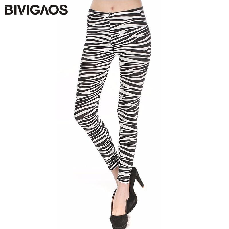 BIVIGAOS Summer New Women's Leggings Zebra-Stripe Print Legins Thin Skinny Leggings Black Milk Slim Leggings Nine Pants Women