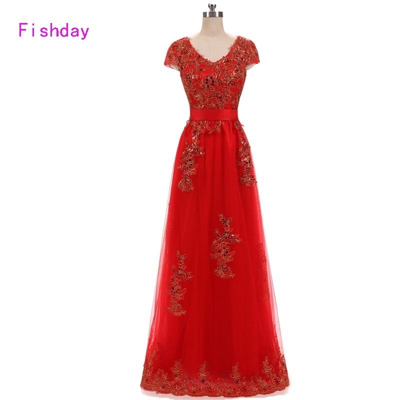 Fishday Long Evening Dresses Golvlängd V-hals Elegant Plus Storlek Röd Ladies Appliques En linje billig mor till bruden E20