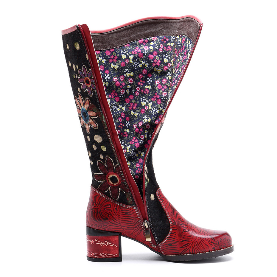 Fashion Patchwork Western Cowboy Boots Women Shoes Bohemian Genuine Leather Shoes Woman Vintage Side Zip Knee High Riding Boots (5)