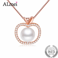 Almei Freshwater Pearl Apple Pendant Genuine 925 Sterling Silver Necklace Women Rose Gold Color Christmas Jewelry with Box CN045