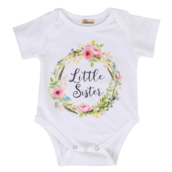 Family Matching Clothes 2017 Drop Shipping Infant Girls Short Sleeve Rompers & Floral Print T-shirt Summer Baby Sisters Costume