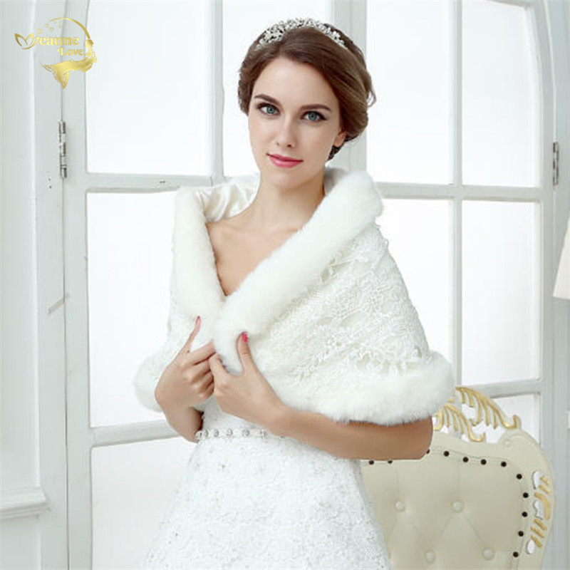 5 Styel ! Free Shipping 2018 New Arrival Urged Wrap Bride Formal Dress Winter Cape Bride Fur Shawl Wedding Jackets Wrap OJ00163