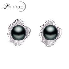 Real natural freshwater pearl earrings women,white grey black bridal silver earring