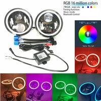 7 LED Headlights Bulb With Bluethooth RGB Halo Angel Eye For 1997 2016 Jeep Wrangler JK