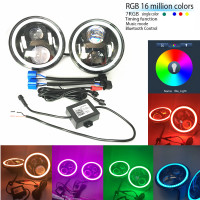 7 LED Headlights Bulb With Bluethooth RGB Halo Angel Eye For 1997 2016 Jeep Wrangler JK