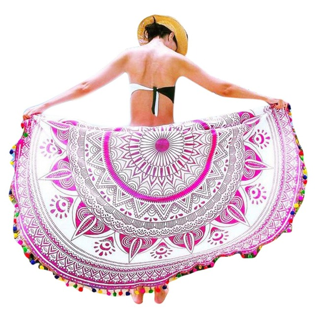 150cm Beach Towel Yoga Tap Tap Art Tassel Polyester Sport Round Sand Summer Bath Towel Adults Women Swimming Sunbath