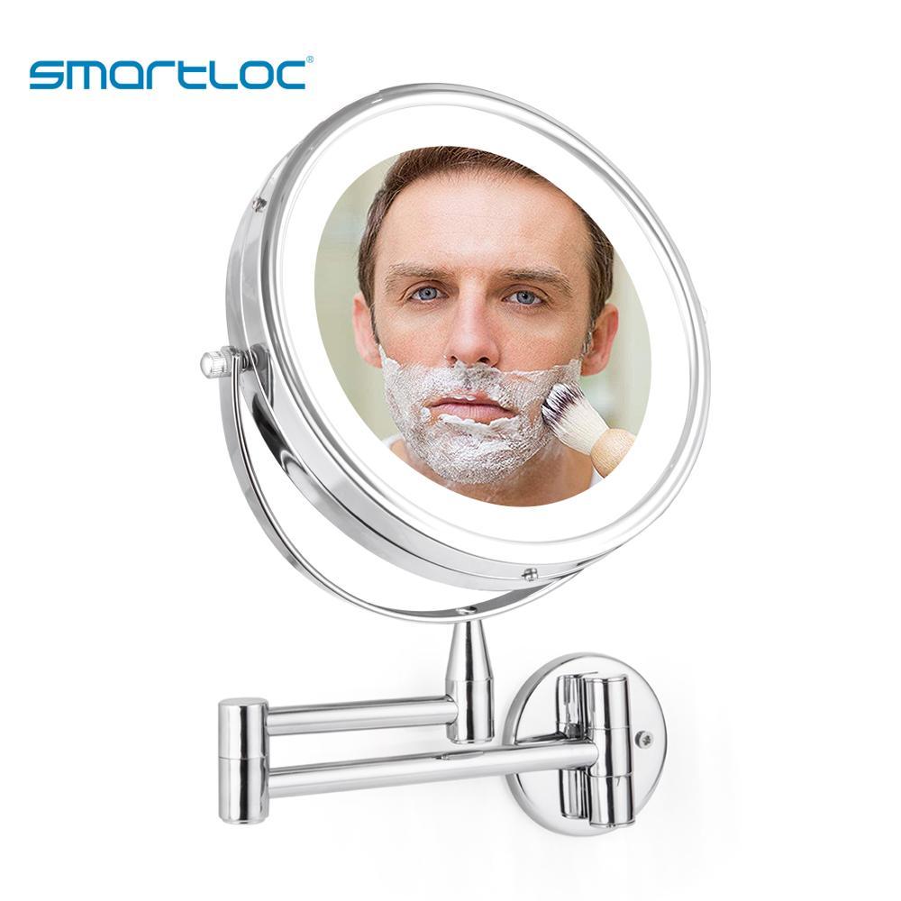 Smartloc LEVOU Prorrogável 20cm 5X Ampliação Montado Na Parede do Banheiro Espelho Mural Luz Vaidade Banho Maquiagem Cosméticos Espelhos Inteligentes espelho led mirror bathroom redondo aumento antiembaçante