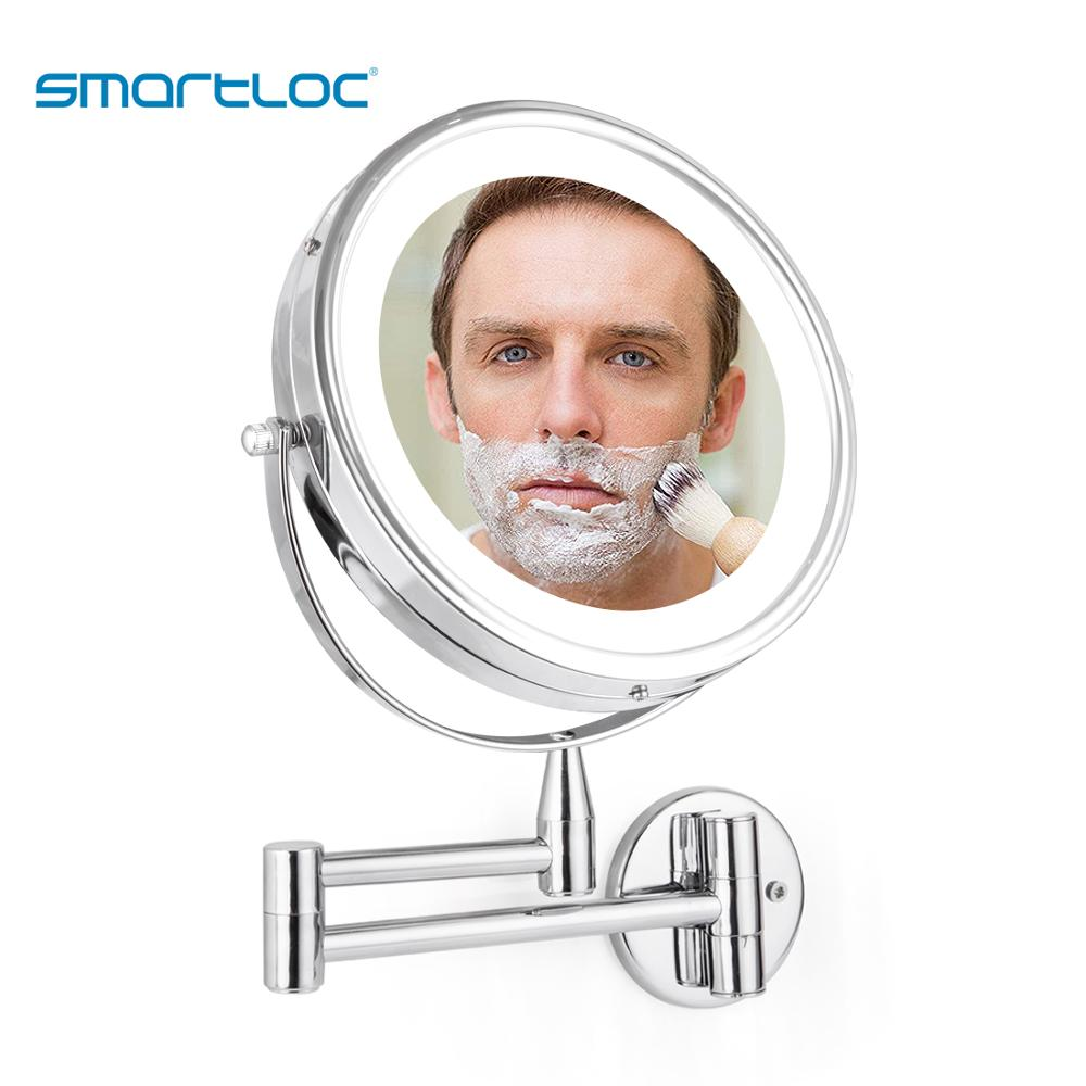 smartloc Extendable LED 8 inch 5X Magnifying Bathroom Wall Mounted Mirror Mural Light Vanity Makeup Bath Cosmetic Smart Mirrors