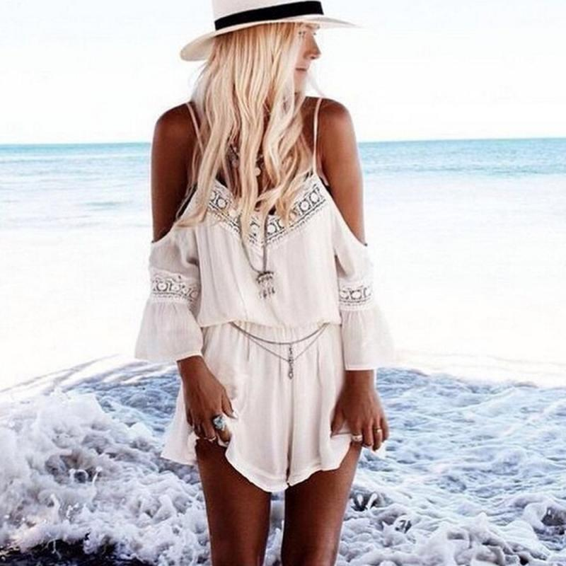 Womens Lace Chiffon Jumpsuit Rompers Summer Sexy Strap Off Shoulder Backless Bodysuit Beach Wear Playsuit Short Overalls