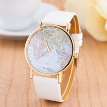 366ac5b0f31 CAY Moda Feminina Relógios 2018 Mapa Do Mundo Dos Homens Das Mulheres  Relógio de Quartzo Senhoras de Couro Casual Relógio de Pul.