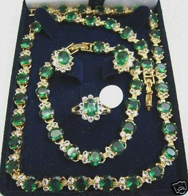 14KGP GP Émeraude Collier Bracelet Boucle D'oreille Anneau AAA 18 K GP Plaqué or De Mariée large montre ailes reine JEWE