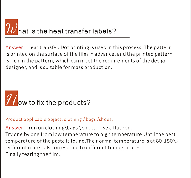 sacos de costume impresso rótulo luminou rótulo de transferência térmica