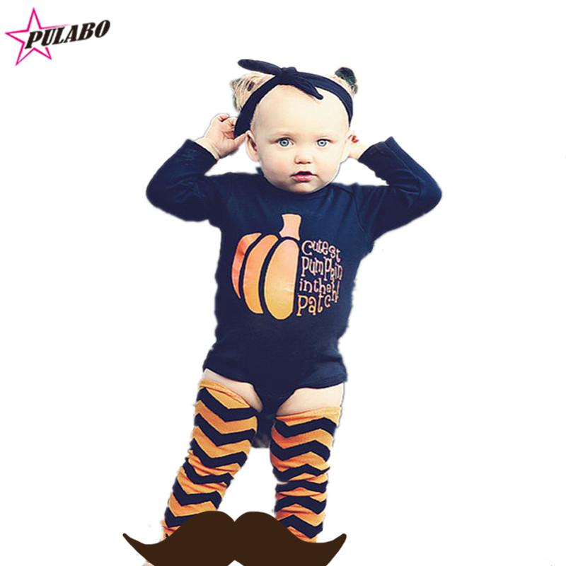 new brand spring autumn long sleeve newborn baby rompers Halloween outfits for girls boys pumpkin clothing for kids 3pcs baby rompers 2016 spring autumn style overalls star printing cotton newborn baby boys girls clothes long sleeve hooded outfits