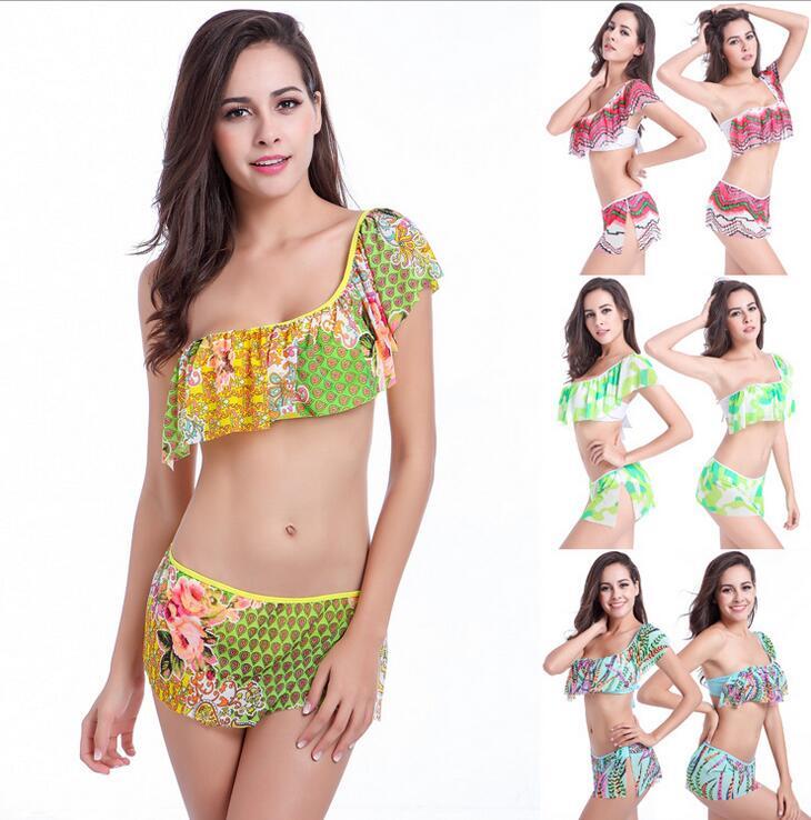 2016 sexy Bikini one should flounce wave flowers feathers wimwear Women Swimwear wire free Swimsuit Bathing