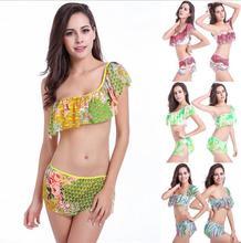 2017 sexy Bikini one shoulder flounce wave flowers feathers wimwear Women Swimwear wire free Swimsuit Bathing