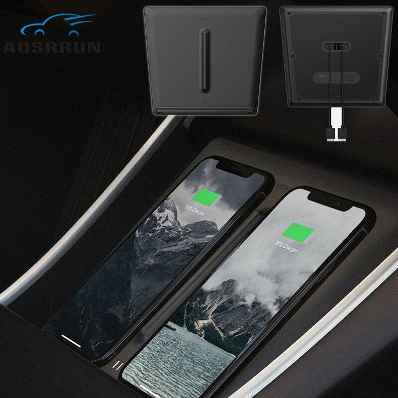 Intérieur avant Center Console Sans Fil Chargeur Double USB Ports Double Téléphones De Charge De Voiture Accessoires pour Tesla 2017 2019 Mode 3