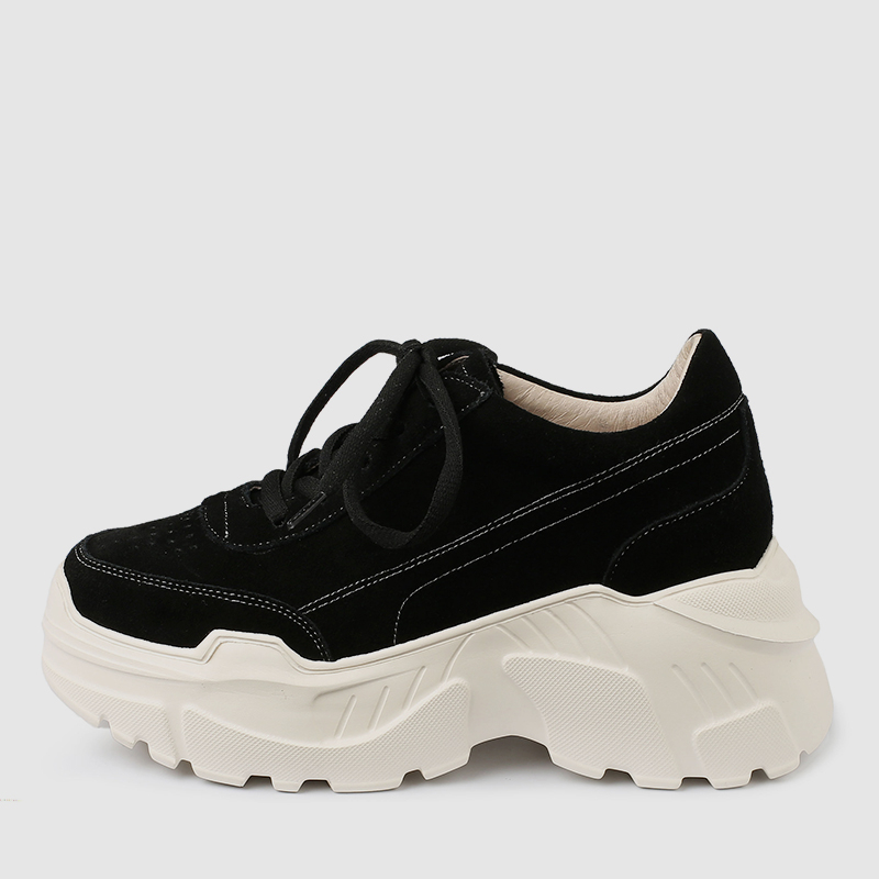 Spring Donna Tennis All nero Quality Thick Scarpe Sneakers Doratasia New larghe Albicocca 2019 Leather Platform Black Lace Up per donna Aw0WRX