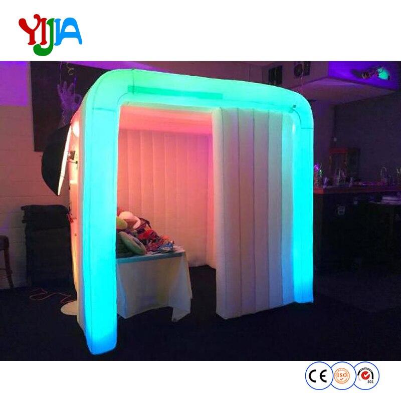 Cambiamenti di colore personalizzato illuminazione a Led portatile gonfiabile photo booth aria cabina con strisce di LED intorno e Ventilatore di Aria per la vendita