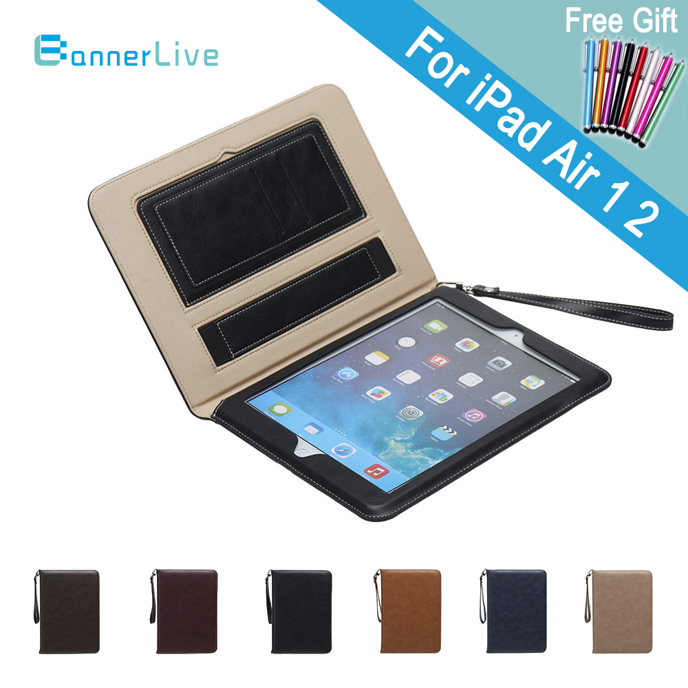 Luxury PU Leather Case for iPad air 1 2 Retro Briefcase Auto Wake Up Sleep Hand Belt Holder Stand Flip Bags Cover for iPad 5 6