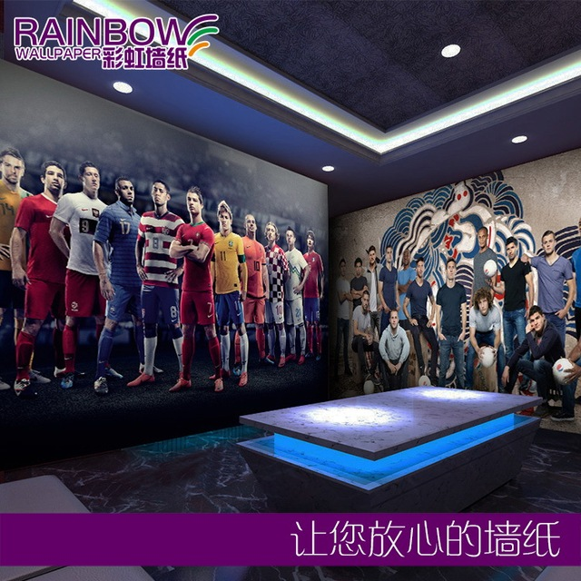 Free shipping Football star large mural sports bar background ...