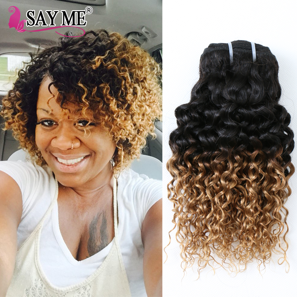 ФОТО Brazilian Virgin Hair Ombre Blonde Two Tone 1b 27 Brazilian Kinky Curly Hair Bundles Top Short Remy Human Hair Weave 3pcs Lot