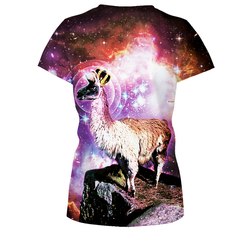 The Stars Antelope Tee Shirts Hot Short Sleeve Round Neck 3D Printed T-Shirt Tops Women Loose Blouse Trainning T Shirts FTNA