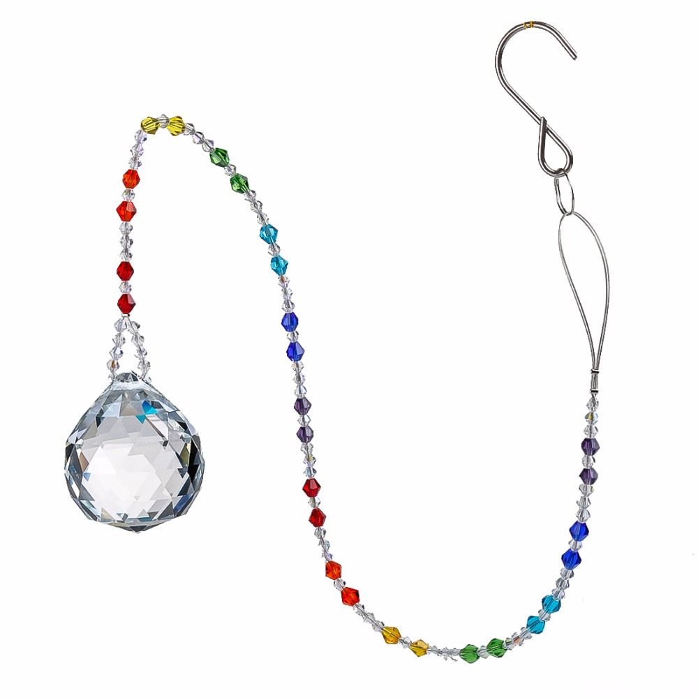 H&D Chakra Crystal Suncatcher With 40mm Crystal Ball For Windows And Colorful Glass Beads Chain,Wedding Favors,22-inch Long
