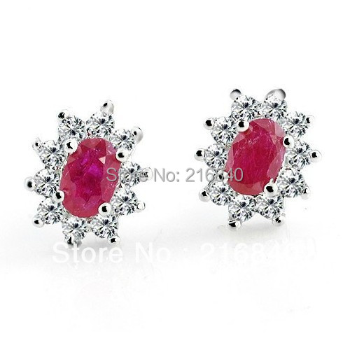 Free Shipping Natural Ruby Princess Stud Earrings In 925 Sterling Silver Classic Elegant Girl Valentine Birthstone Gift se0026r цена 2017